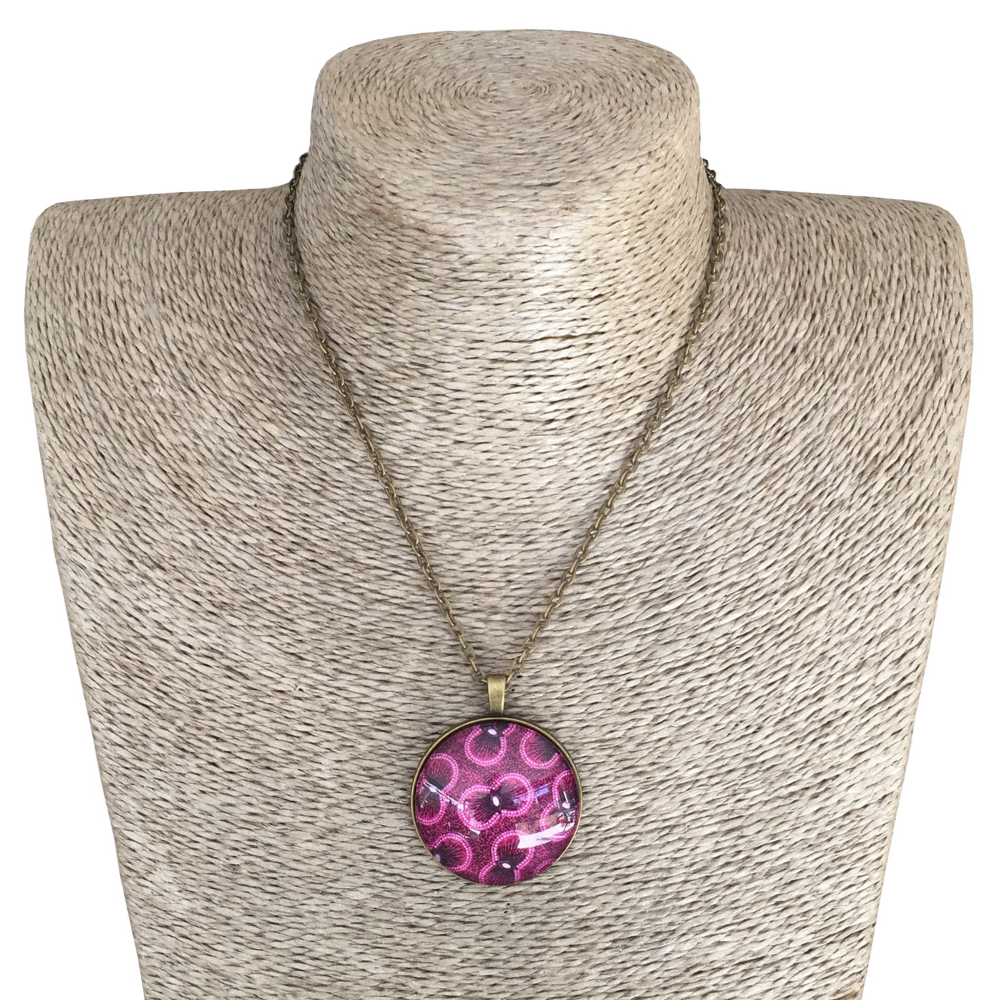 Round 35mm Pendant Necklace - Pink & Purple ShweShwe