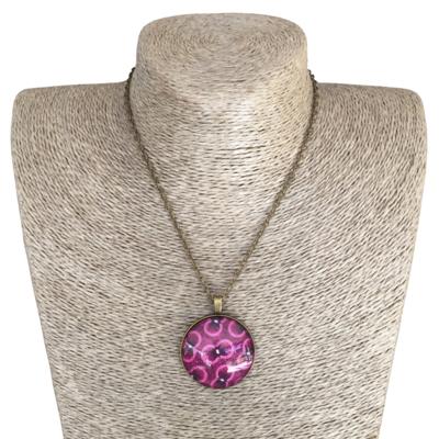 Round 35mm Pendant Necklace - Pink & Purple ShweShwe
