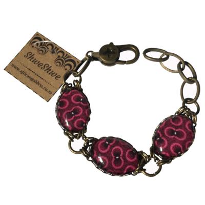 Oval Bracelet - Pink & Purple ShweShwe