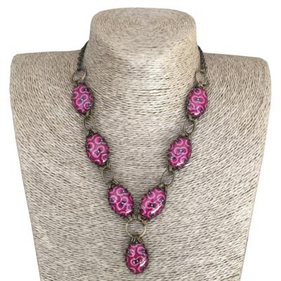 Oval Collar Necklace - Pink & Purple ShweShwe