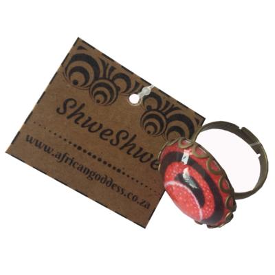 Round 20mm Ring - Red ShweShwe