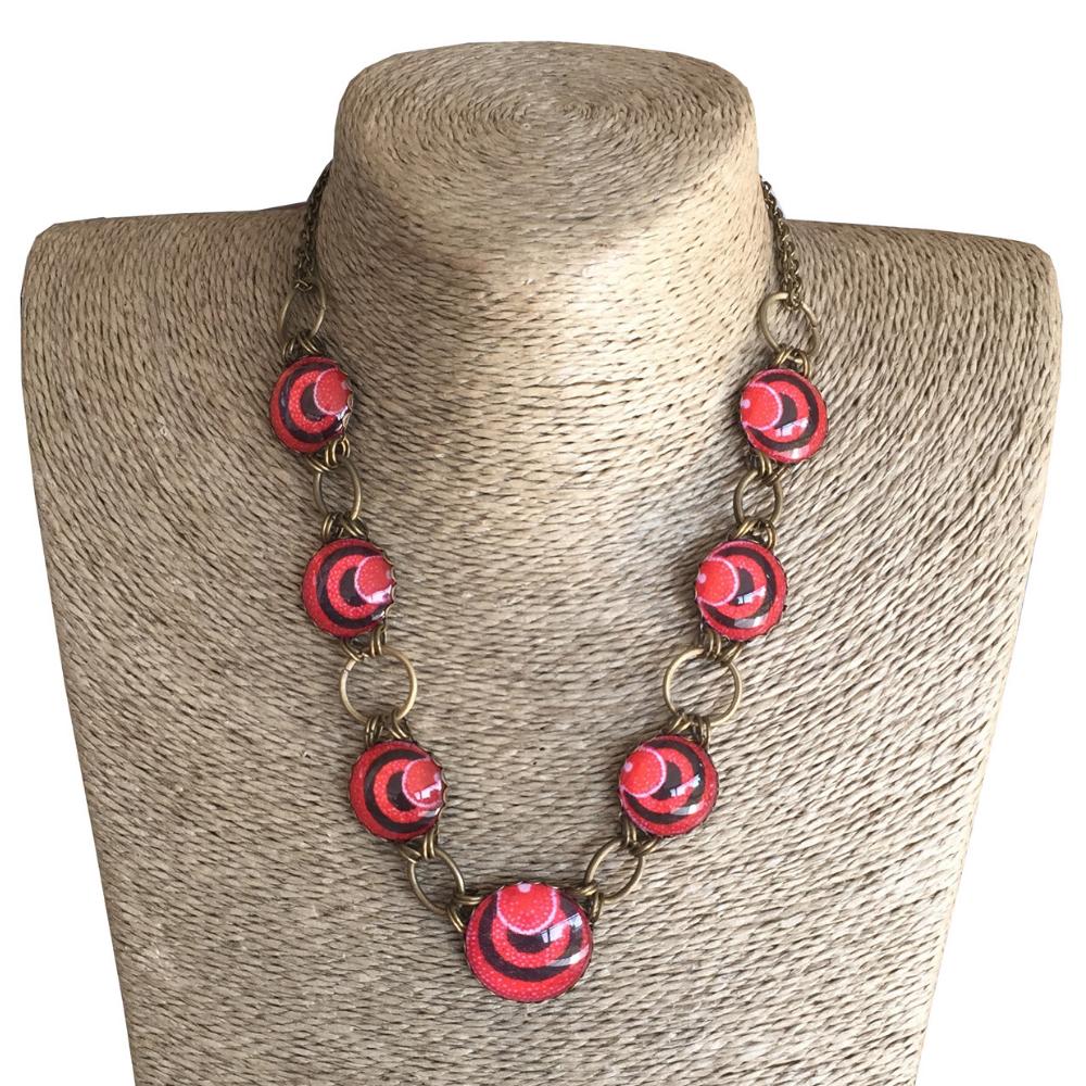 Round Collar Necklace - Red ShweShwe