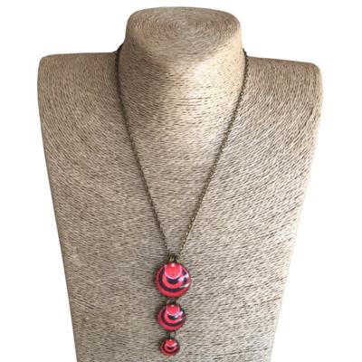 Round Triple Drop Pendant Necklace - Red ShweShwe