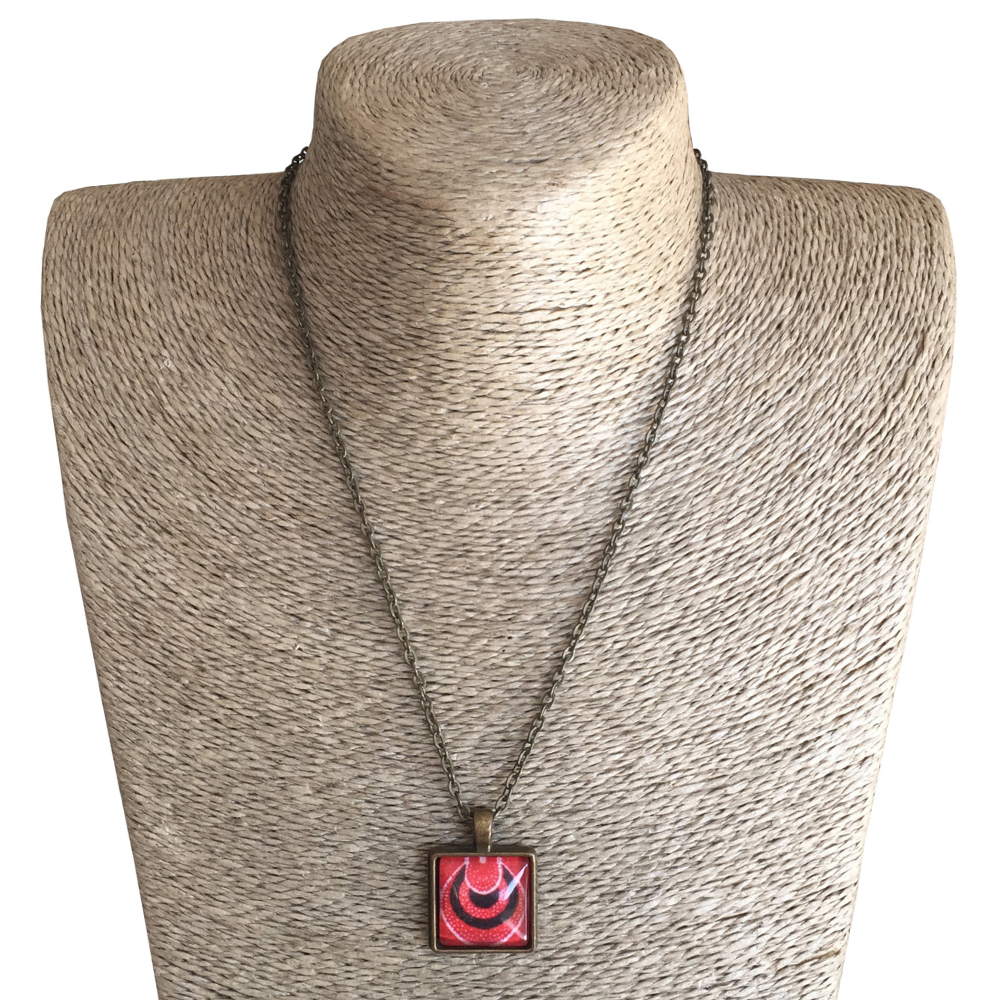 Square 20mm Pendant Necklace - Red ShweShwe