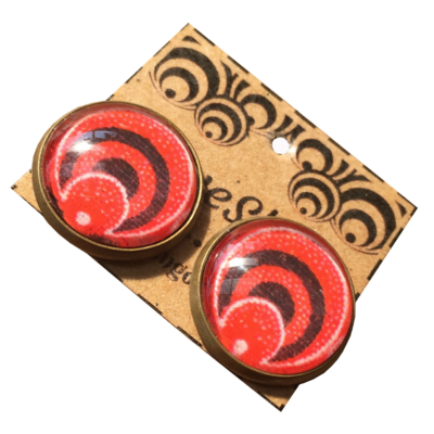 Round 16mm Stud Earrings - Red ShweShwe