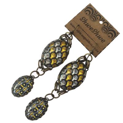 Oval Double Drop Earrings - Yellow & Brown ShweShwe