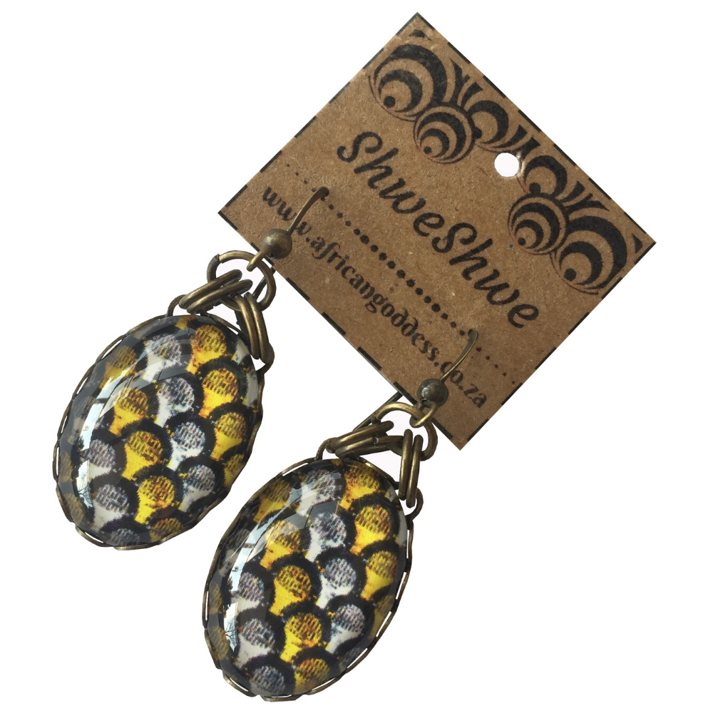 Oval Single Drop Earrings - Yellow & Brown ShweShwe