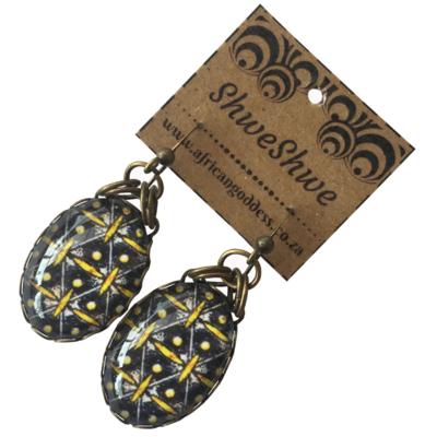 Oval Single Drop Earrings - Yellow & Brown ShweShwe