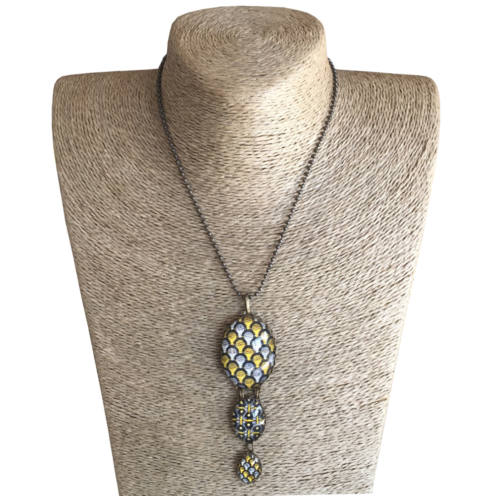 Oval Triple Drop Pendant Necklace - Yellow & Brown ShweShwe
