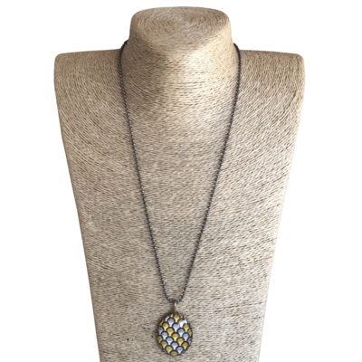 Oval Pendant Necklace - Yellow & Brown ShweShwe