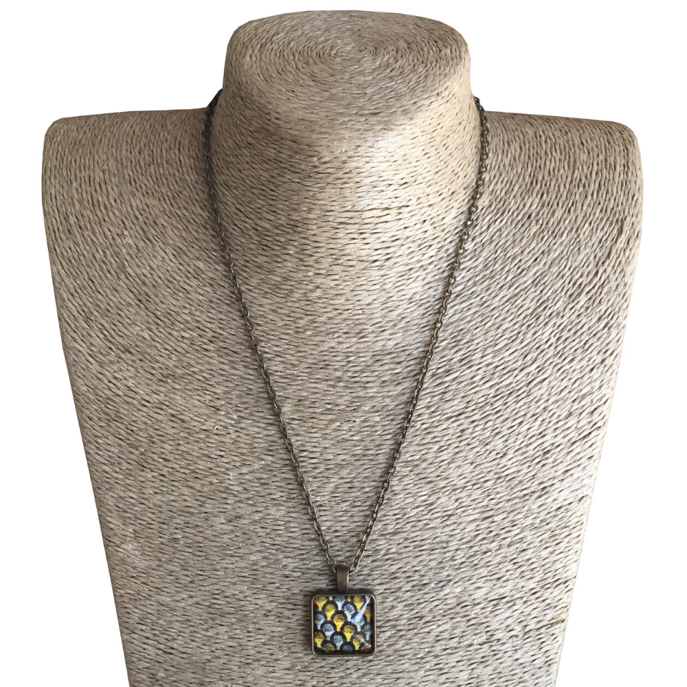 Square 20mm Pendant Necklace - Yellow & Brown ShweShwe