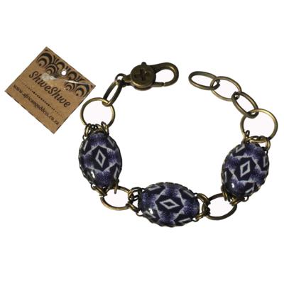 Oval Bracelet - Blue ShweShwe