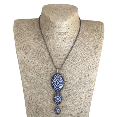 Oval Triple Drop Pendant Necklace - Blue ShweShwe