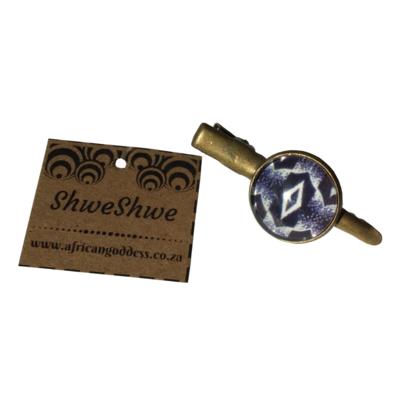 Round Hair Clip - Blue ShweShwe