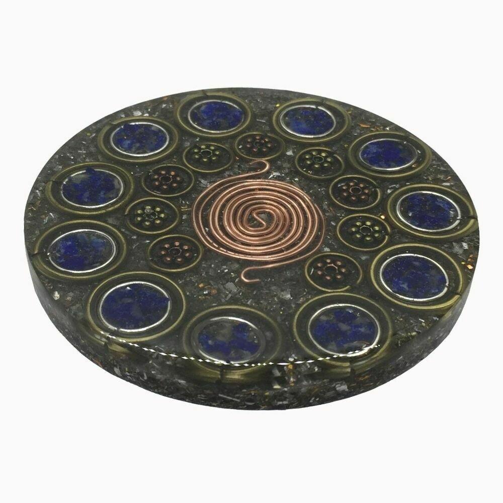 Orgonite Mini Charging Plate - Lapis Lazuli  & SBB Coil