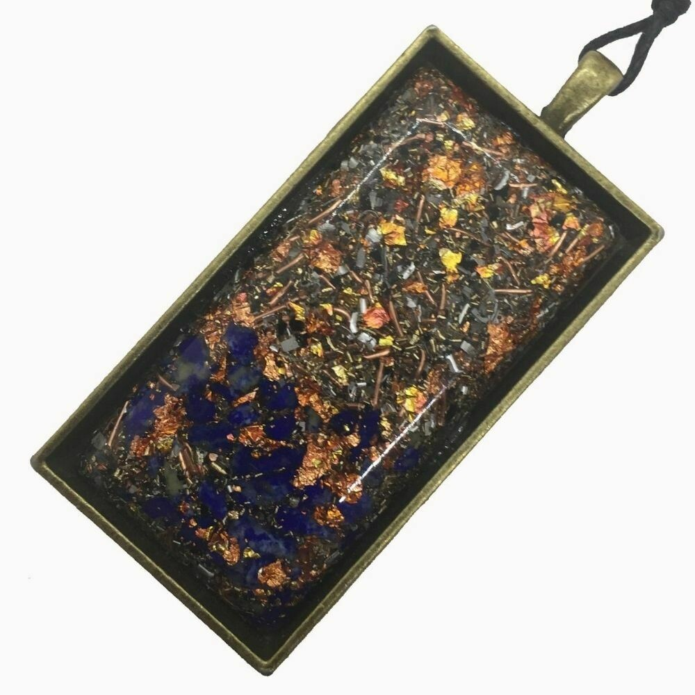 Orgonite Rectangular Brass Base Pendant Necklace - Lapis Lazuli