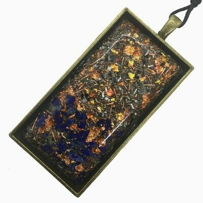 Orgonite Rectangular Brass Base Pendant Necklace - Lapis Lazuli