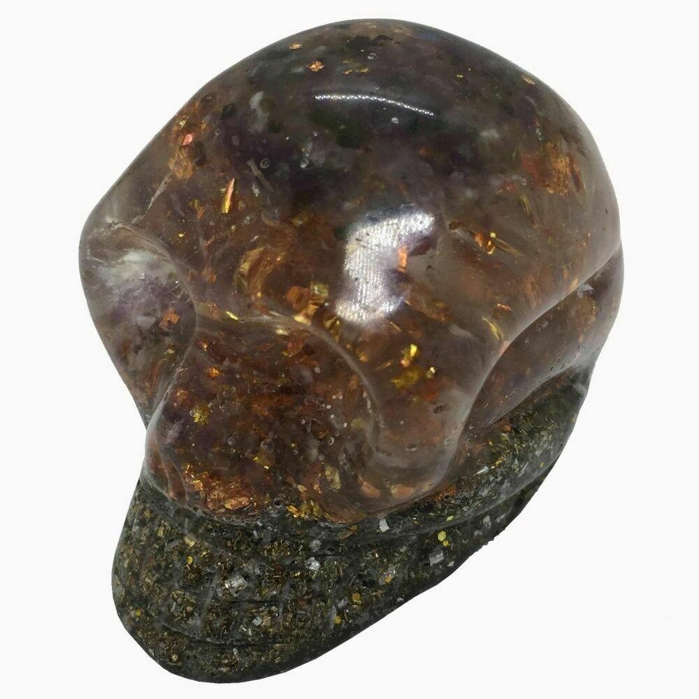 Orgonite Skull - Amethyst, Labradorite, SBB Coil & Copper Starburst Leaf