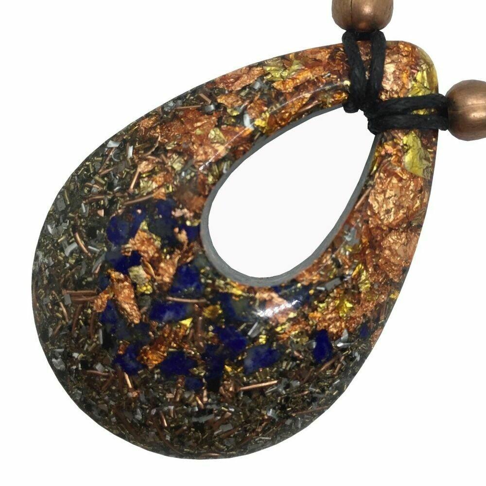 Orgonite Teardrop Pendant Necklace - Lapis Lazuli
