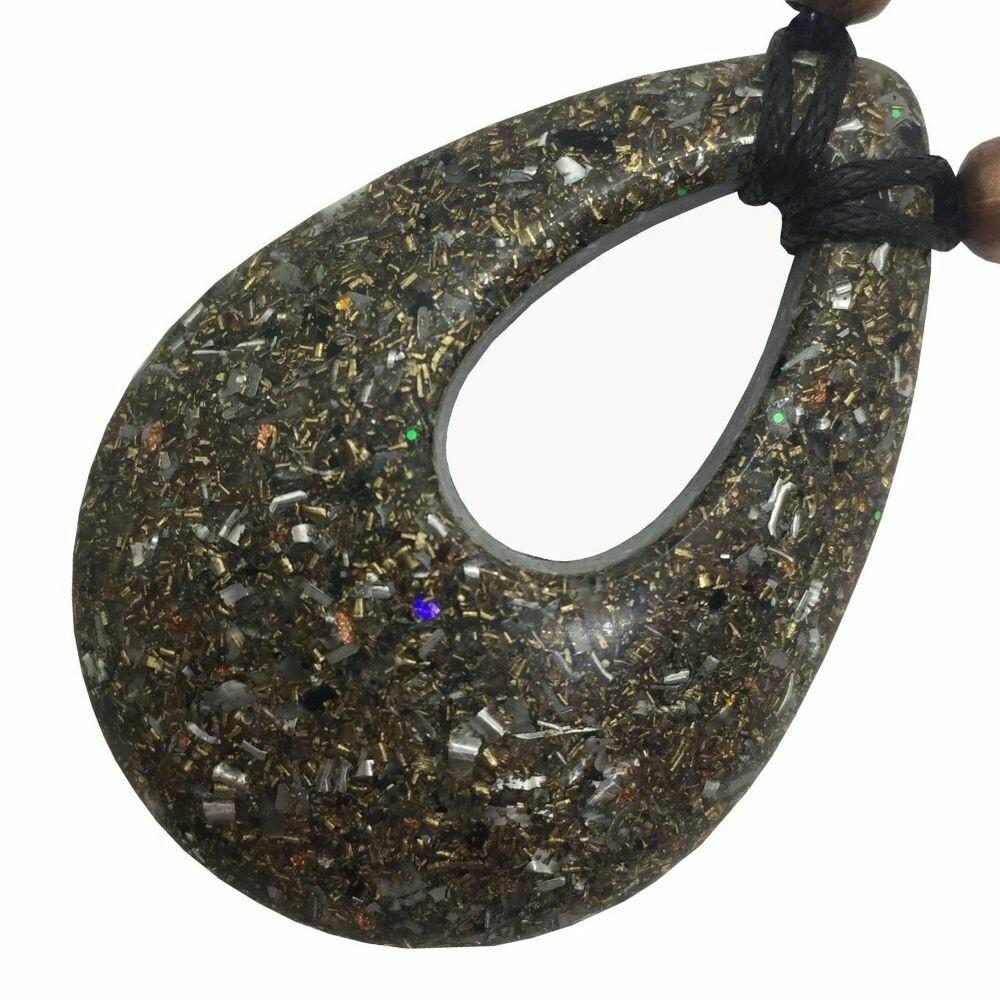 Orgonite Teardrop Pendant Necklace - Clear Quartz