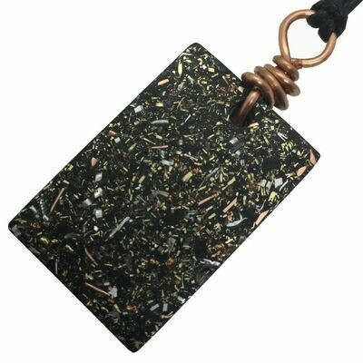 Orgonite Rectangular Mini Pendant Necklace - Black Tourmaline