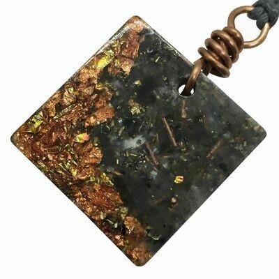 Orgonite Square Mini Pendant Necklace - Labradorite