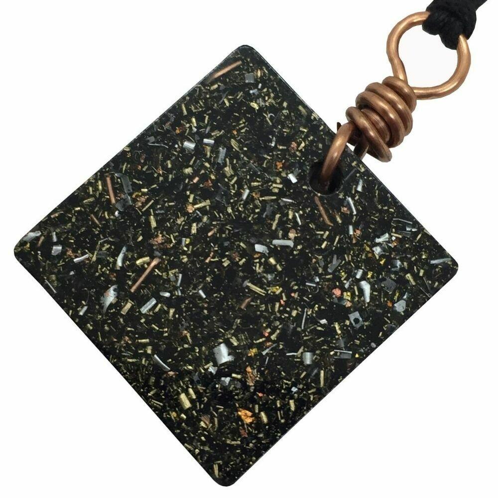 Orgonite Square Mini Pendant Necklace - Black Tourmaline