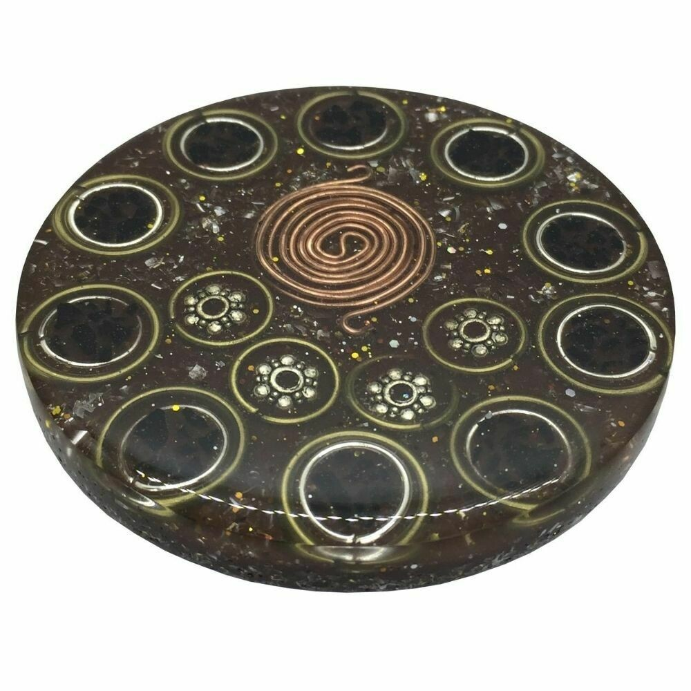 Orgonite Mini Charging Plate - Black Tourmaline & SBB Coil