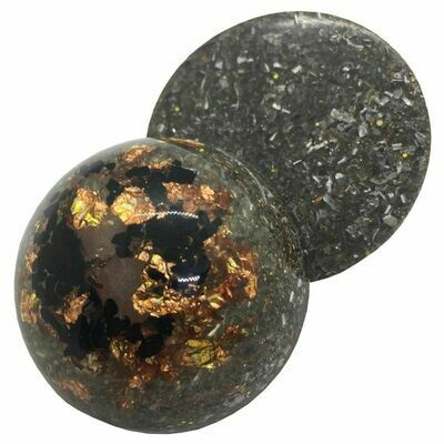 Orgonite - Half Sphere - Oxidized Copper Leaf & Black Tourmaline