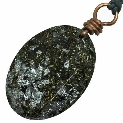 Orgonite Oval Mini Pendant Necklace - Amethyst +