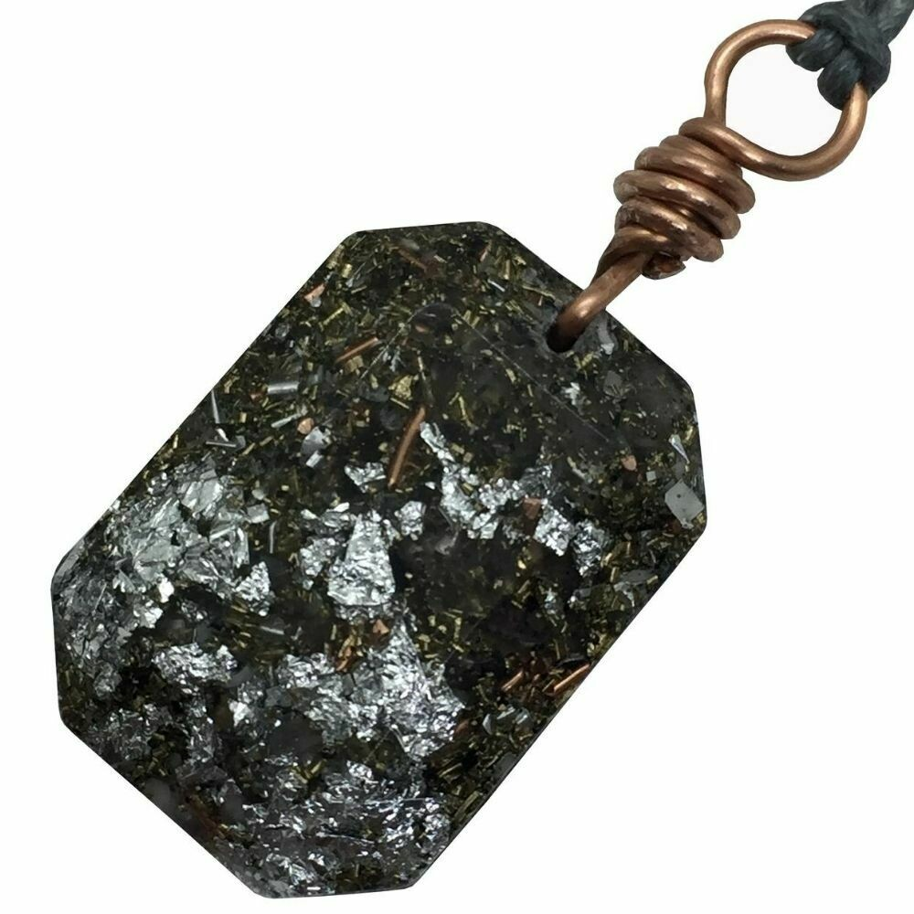 Orgonite Rectangular Mini Pendant Necklace - Amethyst + - Currently with Caryn
