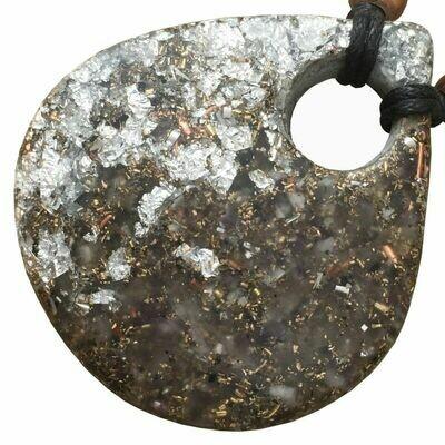 Orgonite Large Teardrop Pendant Necklace - Amethyst +
