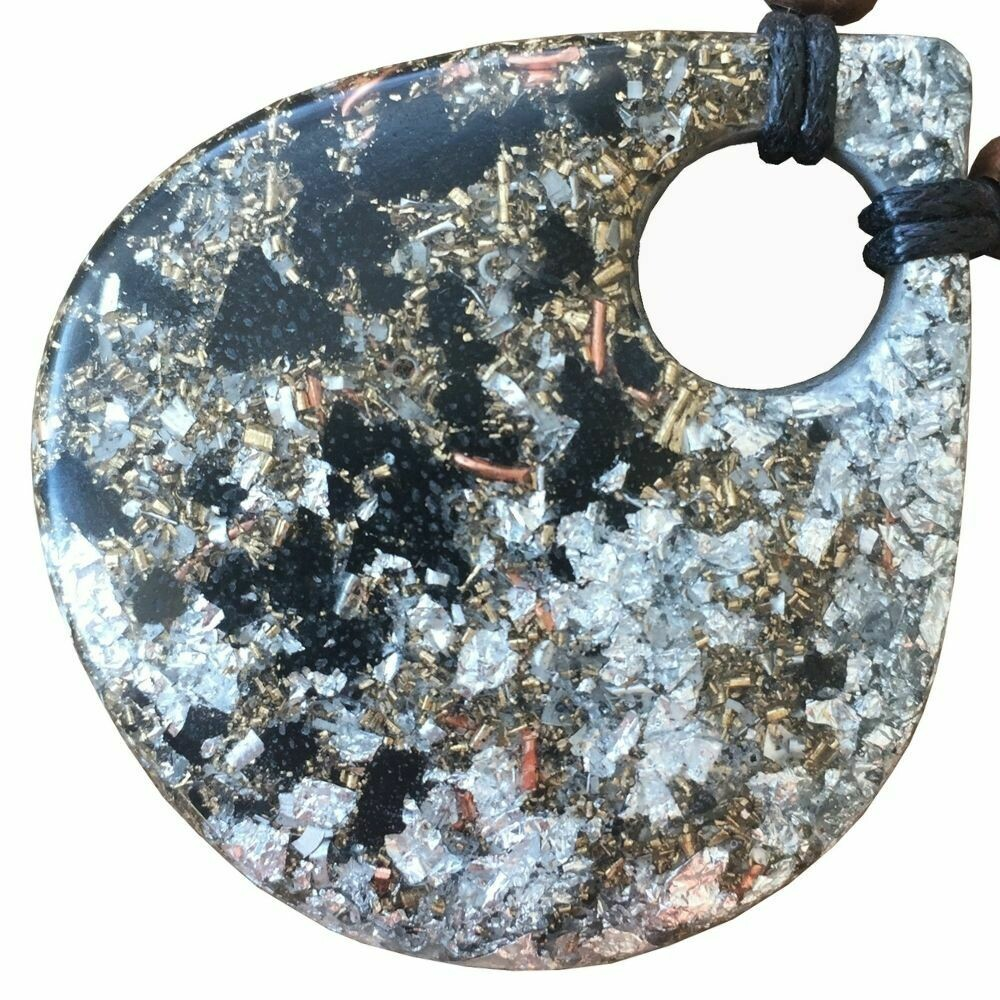 Orgonite Large Teardrop Pendant Necklace - Black Tourmaline +