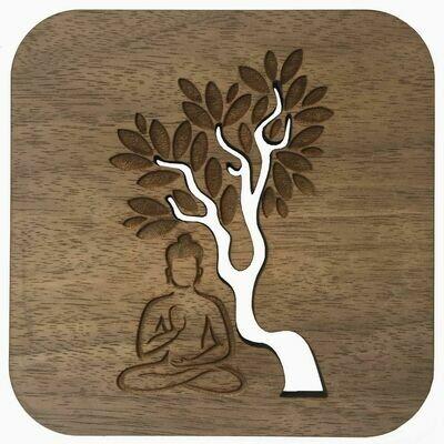 Boho Wall Plaque - Buddha Sitting Under A Tree