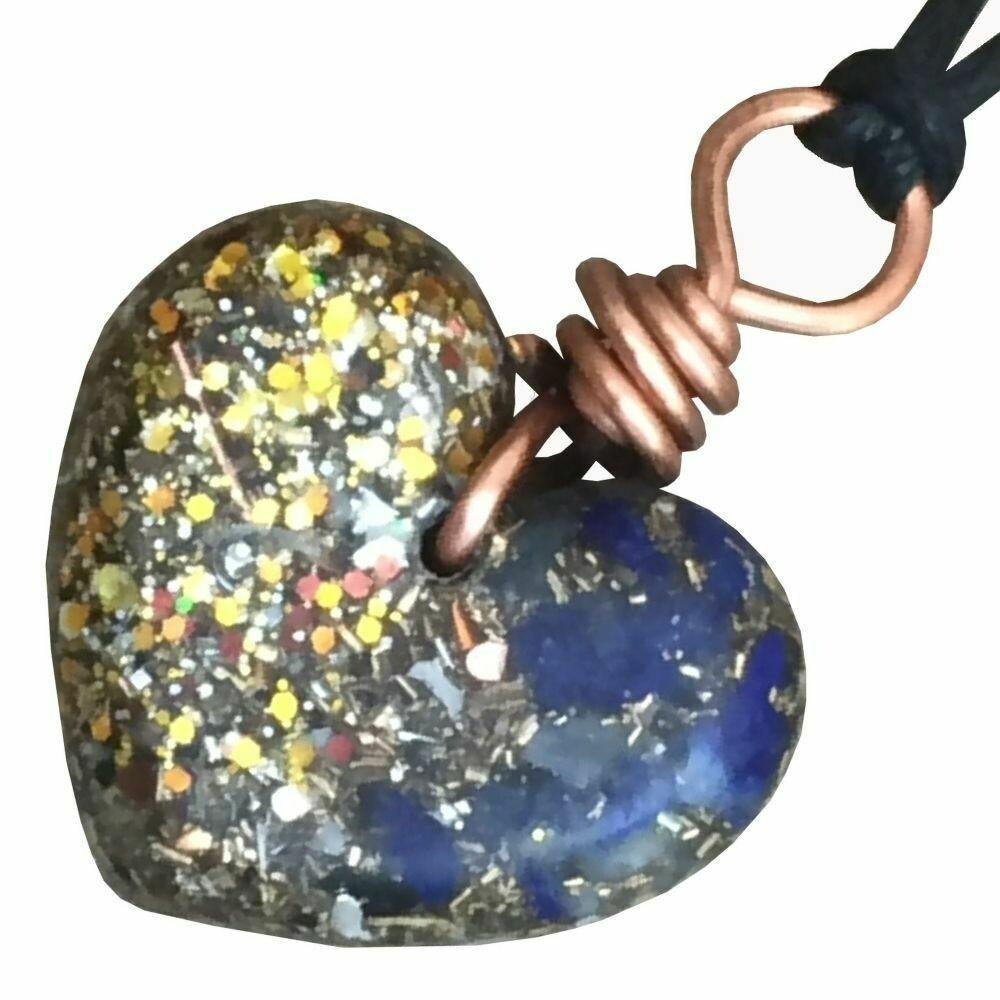 Orgonite Small Heart Pendant Necklace - Lapis Lazuli & Gold Glitter
