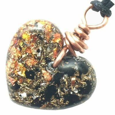 Orgonite Small Heart Pendant Necklace - Black Tourmaline & Copper Starburst Leaf