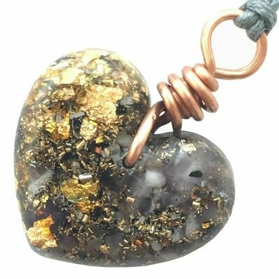 Orgonite Small Heart Pendant Necklace - Amethyst & Gold River Leaf