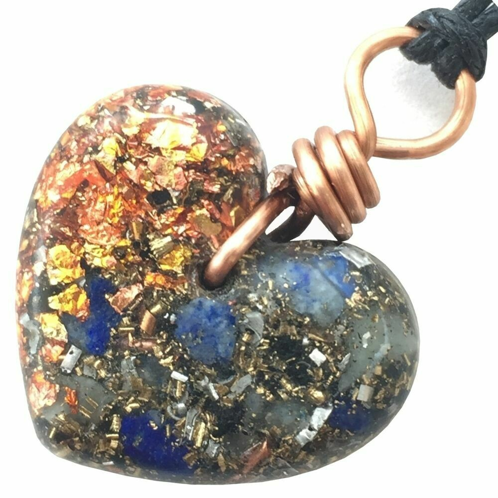 Orgonite Small Heart Pendant Necklace - Lapis Lazuli & Copper Starburst Leaf