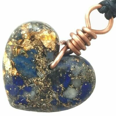 Orgonite Small Heart Pendant Necklace - Lapis Lazuli & Gold River Leaf