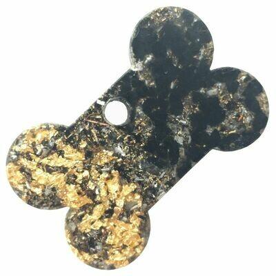 Orgonite Charms for Pets - Black Tourmaline & Imitation Gold Leaf