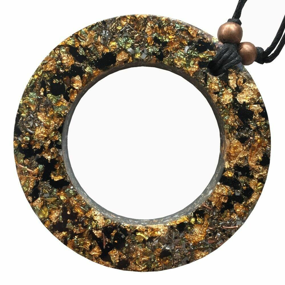 Orgonite Circle Pendant Necklace - Black Tourmaline & Gold River Leaf