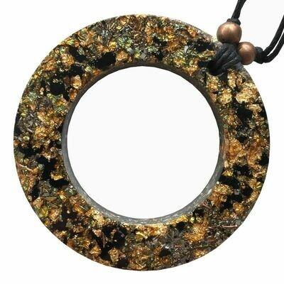Orgonite Circle Pendant Necklace - Black Tourmaline & Gold River Leaf