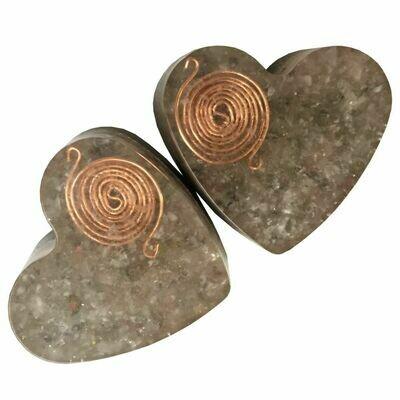 Orgonite Large Heart -  Rose Quartz, Labradorite & SBB Coil