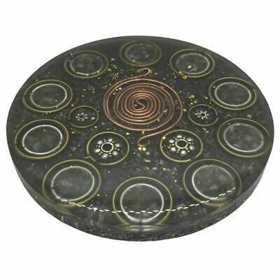 Orgonite Mini Charging Plate - Green Aventurine & SBB Coil