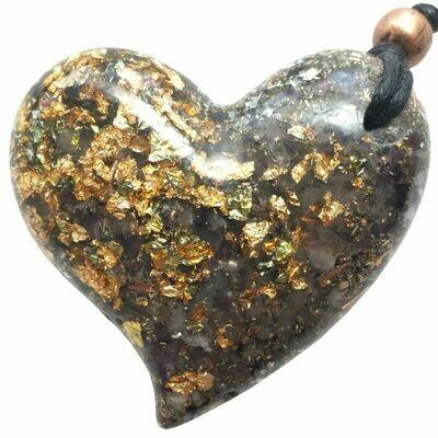 Orgonite Large Heart Pendant Necklace - Amethyst & Gold River Leaf
