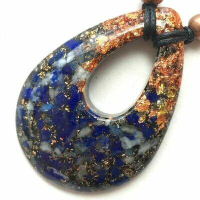 Orgonite Teardrop Pendant Necklace - Lapis Lazuli & Copper Starburst Leaf