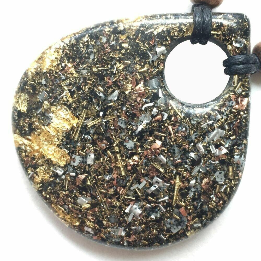 Orgonite Large Teardrop Pendant Necklace - Black Tourmaline & Imitation Gold Leaf