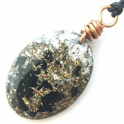 Orgonite Oval Mini Pendant Necklace - Black Tourmaline & Imitation Silver Leaf