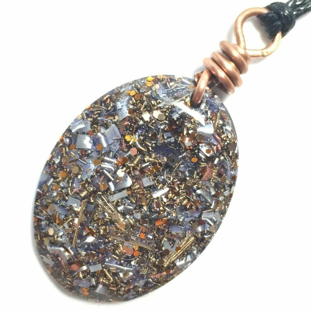 Orgonite Oval Mini Pendant Necklace Purple - Clear Quartz