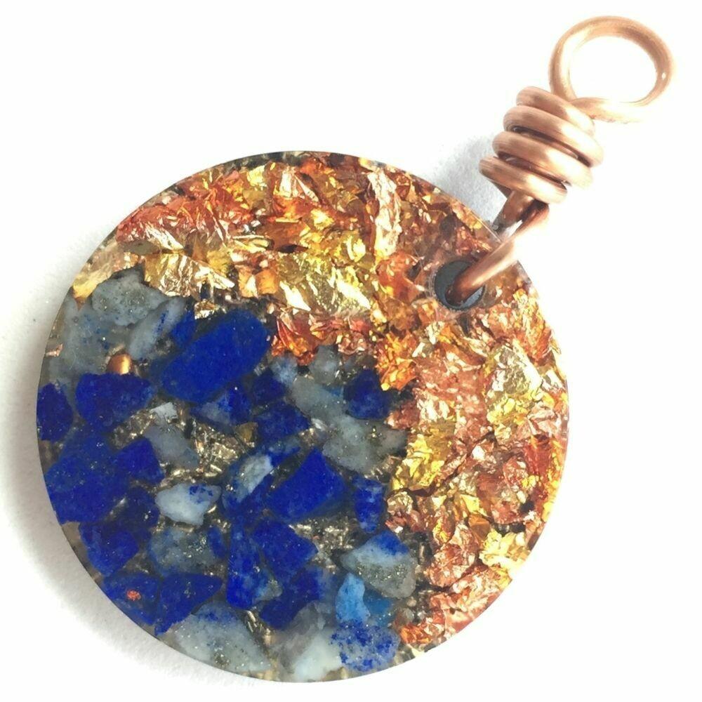 Orgonite Mini Round Pendant Necklace - Lapis Lazuli & Copper Starburst Leaf